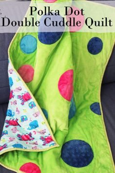 Polka Dot Double Cuddle Quilt with applique  @craftmoore - Cuddle Kids Go Fish Tiffany on back ttp://www.shannonfabrics.com/cuddle-kids-go-fish-tiffany-p-6534.html --Features Cuddle Cakes Very Vibrant Solids http://www.shannonfabrics.com/cuddle-cakes-very-vibrant-solid-p-6577.html  and Cuddle 3 Dark Lime background  http://www.shannonfabrics.com/cuddle-3%C3%82%C2%AEbrdark-lime-p-926.html -- #GreatCuddleCakeChallenge #CuddleCakes #Cuddle @fairfieldworld