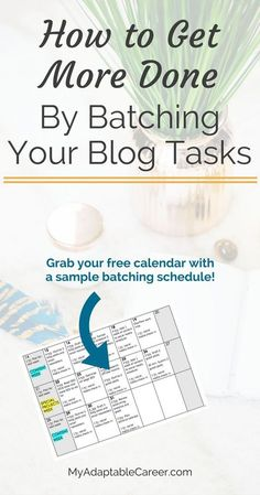 Batching is all the rage among bloggers these days. Found out why batching is so popular (Hint: It saves time!) and check out a huge list of blog and biz tasks you can batch. Plus, grab a free calendar with a sample batching schedule. << My Adaptable Career