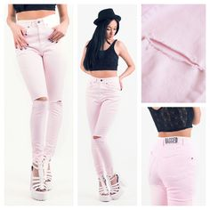 Todays Fashion Fix: Ragged Priest Skinny Jeans In Pink. Ragged Priest, Love Clothing, White Jeans, Capri Pants, Skinny Jeans, Womens Fashion, Pink, Stuff To Buy, Clothes