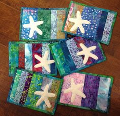 I'm hosting my bee group here today and I made them each a little gift. I made mug rugs with star fish since I was in a Caribbean mood...