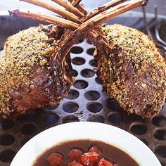 Rack of Venison with Sour Cherry-Port Sauce Recipe Main Dishes with bread crumb fresh, garlic, fresh thyme, juniper berries, extra-virgin olive oil, ground black pepper, salt, venison, port, demi-glace, cherries, ground black pepper, salt