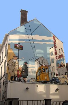 "Comic strip mural of ""Le Jeune Albert"" in Brussels, Belgium - photo from bdmurales.skynet blog;  Yves Chaland created this strip about the young Jeune Albert who gets into mischief but also enjoys reading detective stories.  - info from visit.brussels"