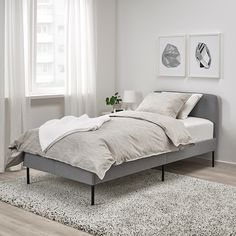 IKEA offers everything from living room furniture to mattresses and bedroom furniture so that you can design your life at home. Check out our furniture and home furnishings! Cama Ikea, Grey Upholstered Bed, Bedroom Furniture, Bedroom Decor, Lit Simple, Diy Bed Frame, Diy Twin Bed Frame, Bed Slats, Bed Base