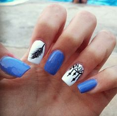 Blue white feather and dreamcatcher nails