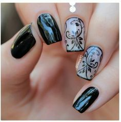 Great simple design. Have them shape your nails oval for length. #nailgasm #nails #naildesign #blacknails #accentnails