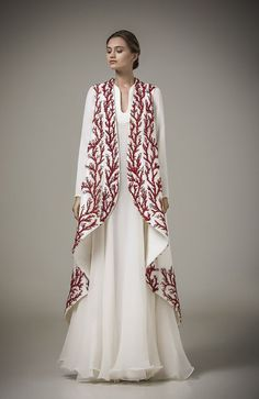 vestido longo Haute Couture Caftan 2017 Special Occasion Dresses With Red Embroidery Robe White Long Sleeve Muslim Evening Dress Muslim Evening Dresses, Muslim Dress, Evening Gowns, Hijab Dress, Evening Party, Prom Dresses Long With Sleeves, A Line Prom Dresses, Dress Long, Prom Gowns