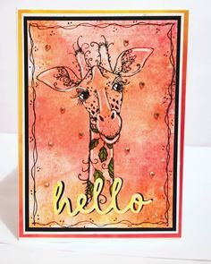 Hello from Mr Giraffe Stamp from Horse Cards, Pink Giraffe, Ink Stamps, Card Maker, Blue Bird, I Card, Birthday Cards, Vintage World Maps, Stamping