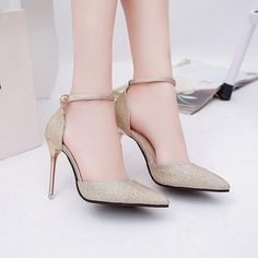 Shinning Pointed Toe Ankle Wrap Stiletto High Heels Party Shoes Source by negmainthesky party shoes Platform High Heels, High Heels Stilettos, Stiletto Heels, Shoes Heels, Heels Outfits, Ankle Heels, Prom Heels, Studded Heels, Women Accessories