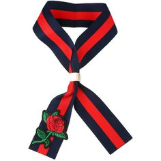 Dark Blue Rose Embroidered Striped Cloth Lace Up Retro Necklace (€7,22) ❤ liked on Polyvore featuring jewelry, necklaces, rose necklace, dark blue necklace, retro jewelry, embroidery necklace and party jewelry