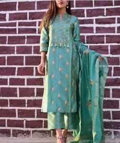 All dresses up . Shop if you love !Search by Green gotta patti suit set. Silk Kurti Designs, Salwar Designs, Kurta Designs Women, Kurti Designs Party Wear, Blouse Designs, Churidhar Designs, Indian Designer Outfits, Indian Outfits, Kurta Style