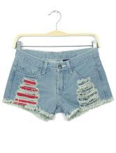 Light Blue Ripped Pockets Fringe Denim Shorts $21.29