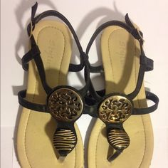 Beautiful black thong sandal Fairly wornhas few flaws seen as picture nevertheless sandal is gorgeous and in good  condition  feel free to ask me anything  Shoes Sandals