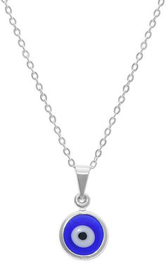 Gargantilha folheada a prata com pingente de olho grego em murano (linha esotéricos)