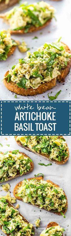 White Bean, Artichoke and Basil Toasts