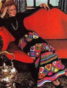 Crochet Pattern maxi skirt Granny Squares by GrandmaHadItGoinOn, $1.88