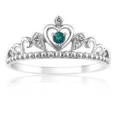 Princess Created Emerald & Diamond Tiara Ring in Sterling Silver