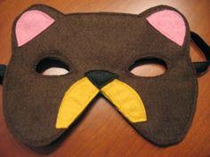 máscara oso pardo fieltro; máscara fieltro