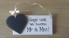Wedding Countdown Plaque with chalk board to write number of days on - great for engagement  present - can be personalised with surname