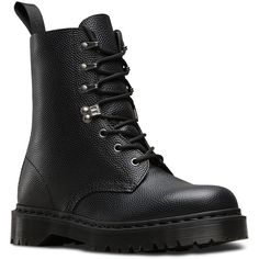 Dr. Martens Leather Para Boots (€89) ❤ liked on Polyvore featuring shoes, boots, black, leather military boots, black gothic boots, military boots, goth boots and slip resistant boots