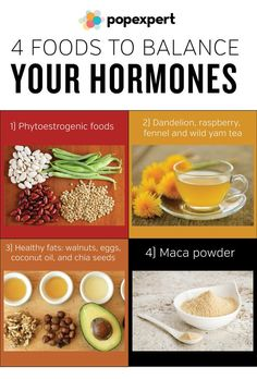 4 Foods to Balance Your Hormones 1) Phytoestrogenic foods 2) Dandelion, raspberry, fennel and wild yam tea 3) Healthy fats: Choose things like walnuts, eggs, salmon, coconut oil, and chia seeds. 4) Maca powder