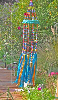 Unique wind chimes, Gypsy Bohemian colorful mobile, Boho Wind Chime-Window Decoration-Outdoor Decor by RonitPeterArt on Etsy
