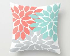 Pillow Cover with Insert Flower Burst Throw Pillow Zipper Closure Double Sided Custom Colors Coral Turquoise Gray 14x14 16x16 18x18 20x20