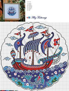 Kalyon desenli çinileri çok seviyorum. Kısaca bilgi vermek isterim. 16. Yüzyıldan itibaren kullanılmaya başlanmıştır. Rüzgarla yol alan büyük savaş gemileridir. Bu nedenle mutlaka üç ana direği ve kusursuz bir yelken donanımı bulunur...Üstadlar çini sanatında çok fazla yer vermişler. Osmanlı donanmasında da kullanılıyor olması büyük etken olmuştur mutlaka...Designed and stitched by Filiz Türkocağı...( İznik Chini Galleon )