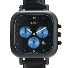 OC1 Chronograph (black/blue) watch by Orolog. Available at Dezeen Watch Store: www.dezeenwatchstore.com
