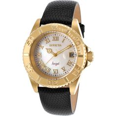 Invicta Women's Angel Black Genuine Leather Mop Dial (356227901) ($46) ❤ liked on Polyvore featuring jewelry, watches, black, bezel watches, leather-strap watches, leather strap watches, dial watches and water resistant watches