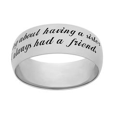 Shop for Sweet Sentiments Sterling Silver Courage Engraved Message Ring. Get free delivery On EVERYTHING* Overstock - Your Online Jewelry Destination! Get in rewards with Club O! Oval Morganite Ring, Sister Rings, Yellow Jewelry, Wide Band Rings, Geometric Jewelry, Diamond Wedding Rings, Sterling Silver Jewelry, Silver Jewellery, Jewelry Rings