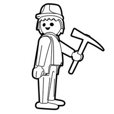 Coloriage Playmobil Travaux