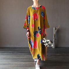 Retro Loose Batwing Sleeve Dresses
