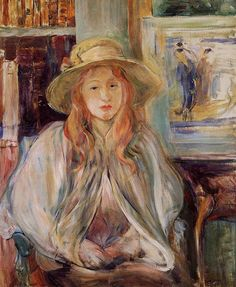Julie Manet with a Straw Hat Berthe Morisot (French, Impressionism, Oil on canvas. Manet a French painter and art collector, was the daughter and only child of artist. Pierre Auguste Renoir, Edouard Manet, Camille Pissarro, Claude Monet, Rudolf Von Alt, Julie Manet, French Impressionist Painters, Paul Cézanne, Berthe Morisot