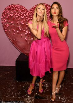 Ready for romance: Candice Swanepoel, left, and Lily Aldridge, right, kicked off the Valentine's Day celebrations at the Victoria's Secret store in New York City's Herald Square on Thursday