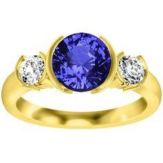18K Yellow Gold Sapphire Venus Ring, top view