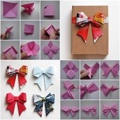 Make any present exciting with a DIY Paper Origami Bow. Choose from the selection origami paper in our art department. Origami Design, Diy Origami, Origami Ribbon, Oragami Bow, Origami Folding, Origami Templates, Box Templates, Origami With Square Paper, Ribbon Diy
