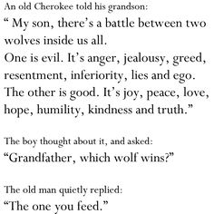 two wolfs inside of us
