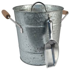 #Galvanized metal ice bucket with scoop.   Product: Ice bucket with scoopConstruction Material: Metal and wood...