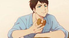 Sousuke happily eating a donut Yamazaki Sousuke, Rin Matsuoka, Makoharu, Anime Love, Anime Guys, Manga Anime, Anime Art, Nagisa, Haikyuu