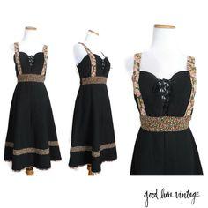Prairie Dress 70s Gunne Sax Style Dress Black Floral Lace Up Hippie Boho Midi…