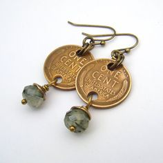 Wheatie penny earrings French hooks green by laurelmoonjewelry, $14.00