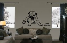 Chillin Pug vinyl wall decal by JnJDoodleBugDesigns on Etsy, $19.95