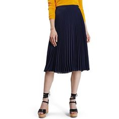 Women's Topshop Chiffon Pleated Midi Skirt ($40) ❤ liked on Polyvore featuring skirts, navy, knee length pleated skirt, navy blue pleated skirt, white chiffon skirt, navy blue skirt and pleated skirt