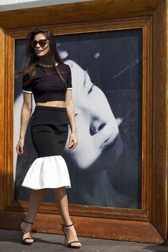 Crop top and ruffle neoprene skirt