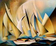 Yachts and Yachting, 1922, an oil painting by Bauhaus Master Lyonel Feininger