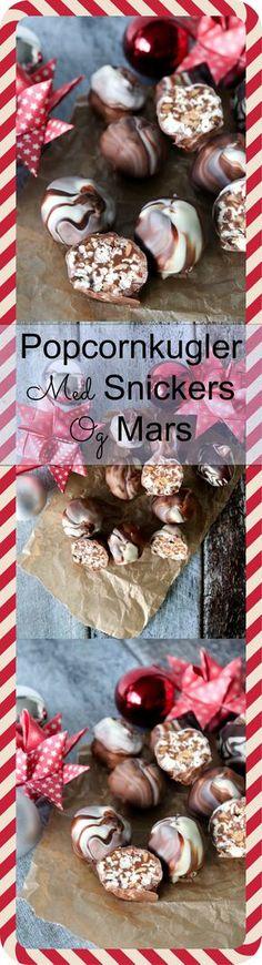 Jeg elsker de her popcornkugler og har efterhånden lavet dem nogle gange. I dag laver jeg dem med Mars og Snickers og så er de dyppet i hvid, lys og mørk chokolade, så de får et marmorlook. Popcornene er dejligt sprøde i kuglerne også efter en uge i køleskabet. #Popcorn #Chokolade #Jul #Slik Homemade Sweets, Homemade Candies, Diy Snacks, Bread Cake, Dessert Drinks, Lchf, Cereal, Food And Drink, Yummy Food