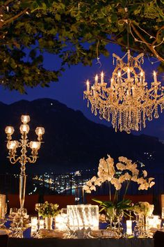 Amalfi Coast event at a private villa in Ravello, Italy... Love the distant lights at the base of the mountains!