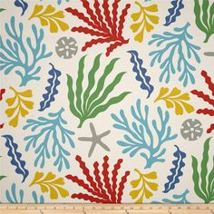 This indoor/outdoor fabric is stain and water resistant, very family friendly and perfect for outdoor settings and indoors in sunny rooms. It is fade resistant up to 500 hours of direct sun exposure. Create decorative toss pillows, cushions, chair pads, placemats, tote bags, slipcovers and upholstery. Colors include off-white, dark blue, aqua blue, red, yellow, green and grey.