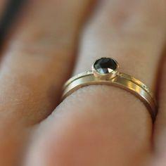 Black rose cut diamond, yellow gold band