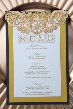 Wedding Menu Card Regal Yellow Dark Grey Cream Gold